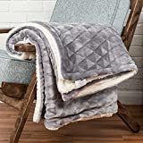 Best Blankets - Light Grey Velvet Throw Geometric Triangle Soft Touch Review