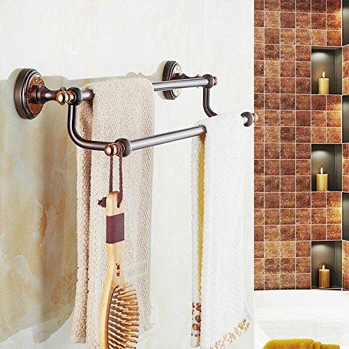 SSBY Portasciugamani doppio in ottone continentale, elegante asciugamano bar, filo d'oro rosa bronzo scuro