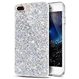 iPhone 8 Plus Hülle,iPhone 7 Plus Hülle,ikasus Kristall Bling Glänzend Glitzer Kristall Strass Diamant TPU Silikon Hülle Handyhülle Crystal Glitzer Schutzhülle für iPhone 8 Plus/iPhone 7 Plus,Silber