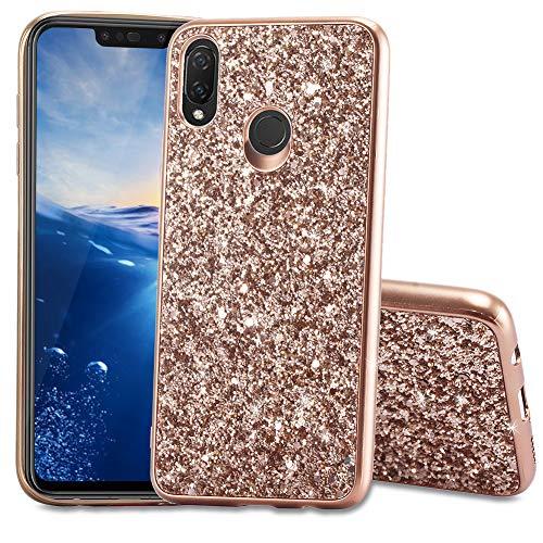 FNBK Huawei P Smart Plus Hülle Glitzer,Soft Silikon Bumper Case Bling TPU Silikon Handyhülle Passgenau Mädchen Schutz Handy Hülle Tasche Schutzhülle Kompatibel mit Huawei P Smart Plus Case,Rosegold