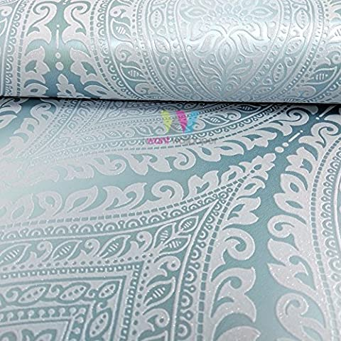 Grandeco Kismet Damask Pattern Wallpaper Metallic Glitter Motif Art Deco (Teal A17702)