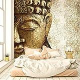 livingdecoration Carta da Parati Buddha Vintage Oro 274,5 x 254 cm Annata Tailandia Asia Tempio Bronzo Spiritualmente Fotomurali Poster Gigante - Inclusivo Pasta Polvere di Colla Nuova
