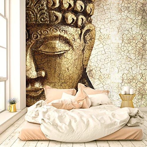 livingdecoration Fototapete Buddha Vintage Gold 274,5 x 254 cm Tapete 120 inklusiv Kleister Asien Tempel Spirituell Bronze