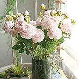 Godagoda Unechte Blumen Künstliche Simulation Deko Rosen Blumen Seidenblume Gefälschte Pflanzen für Hochzeit Party 60cm