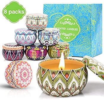 Relaxation /& Stress Relief Gift for Women Her Yoga Soy Wax Aromatherapy Candles 240 Hours with Travel Tin for Bath SUPERSUN Scented Candles Gift Set 12 Scents Spa