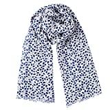 Becksöndergaard Damen Tuch Khari mit Blauen Blättern | Weißer Schal aus Weichem Seide-Wolle-Mix | Perfekte Größe 200x110 cm - 180762001-010