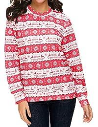 1c3d0170a31 Christmas Hoodies Sweatshirt, Toamen Women Long Sleeve Santa Snowflake Elk  Print Hooded Blouse T-