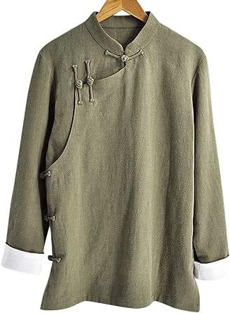 Interact China Stylish Handmade Mens Casual Linen Cotton Mandarin Collar Blazer Jacket #105