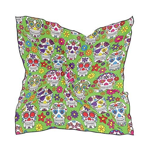 Xukmefat Day Of The Dead Sugar Skull Square Scarf Head Wrap Hair Scarves