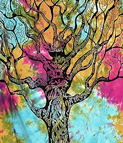 tree-of-life-Mehrfarbige throw-bedspread twin-wall-hanging-tapestry