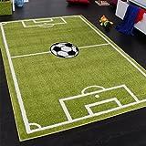 Teppich Kinderzimmer Fußball Spielteppich Kinderteppich Fußballplatz Grün