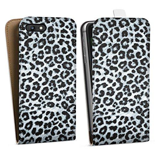 Apple iPhone X Silikon Hülle Case Schutzhülle Leopard Fell Grau Animal Print Downflip Tasche weiß