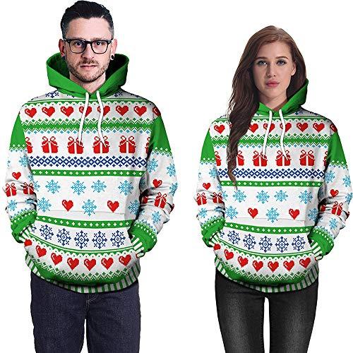 (SEWORLD Weihnachten Vintage Christmas Damen Langarm 3D Party Schneeflocke Elch Rotwild Drucken Top Hoodie Sweatshirt Pullover(X1-grün2,EU-36/CN-M))