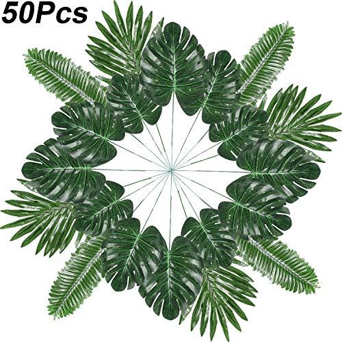 Künstliche Palm Blätter Tropische Pflanze Palm Blätter Faux Palm Blätter für Hawaiian Luau Party Jungle Strand Thema Party Tisch Urlaub Dekorationen (Stil 3, 50 Stücke)