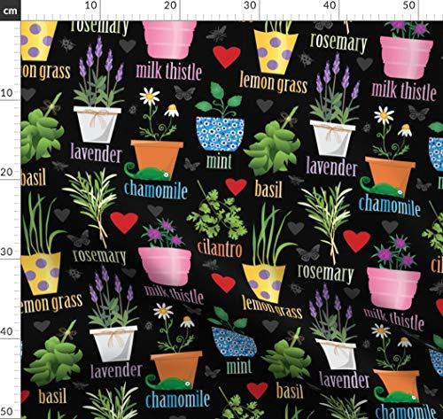 Töpfe, Terrakotta, Kräutergarten, Gartenarbeit, Basilikum Stoffe - Individuell Bedruckt von Spoonflower - Design von Lisa Kubenez Gedruckt auf Leinen Baumwoll Canvas -
