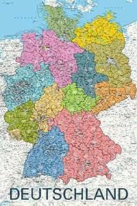 Grande affiche plastifiée Deutschland map In German Language Carte de l'Allemagne en Allemand Poster Dimensions 91.5 x 61cm (environ)