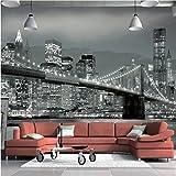 Yosot 3D Fototapete New York Bridge Hängebrücke Architektur Nachtansicht Tv Hintergrund Wandbild Wohnzimmer Custom Tapete-350cmx245cm