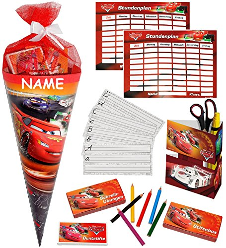 alles-meine.de GmbH 1 Set _ gefüllte Schultüte -  Disney Auto Cars - Lightning Mc Queen  - Incl...