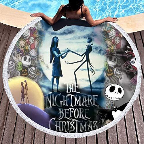 Shengbuzailai Nightmare Before Christmas Gedruckte Runde Strandtücher Für Frauen 150Cm * 150Cm Jack Skellington Und Sally Microfaser Großes Badetuch C