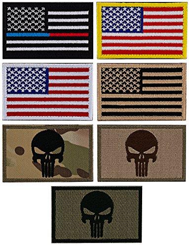 Steven G USA Flaggen Punisher Klettverschluss Tactical Military Patches Best American Pride 7-teilig SET Bundle Pack für Hüte Kappen Rucksäcke Uniformen Multi-1
