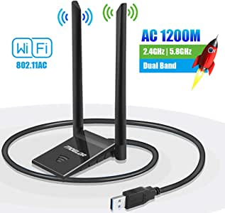 PiAEK USB Wifi Adapter Dual Band Wifi Dongle 2.4GHz//300Mbps 5.8GHz//867Mbps Wireless Network Adapter with USB 3.0 Cradle and Extension Cable for PC Desktop Laptop Support Windows 10//8//7 OSX Linux
