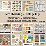 Scrapbooking kit vintage tags - 20,5 x 20,5 cm - 8,5 x 8,5 inch