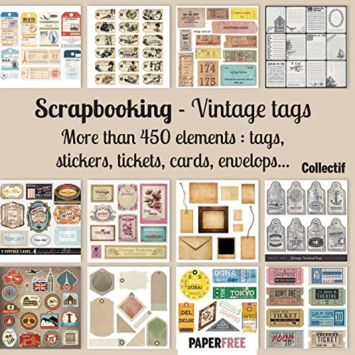 Scrapbooking kit vintage tags - 20,5 x 20,5 cm - 8,5 x 8,5 inch