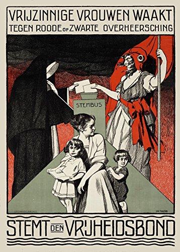 """Vintage Niederländische Propaganda """"Frei denkende Frauen, Schutz vor roter oder schwarzer Herrschaft. Holländisches liberales Kampagnenplakat"""" 1929. 250 g/m², glänzend, Kunstdruck, A3, Reproduktion"""