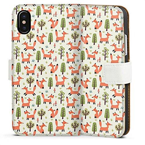 Apple iPhone 7 Plus Silikon Hülle Case Schutzhülle Fuchs Muster Füchse Comic Sideflip Tasche weiß