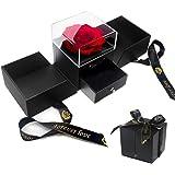 E-MANIS Rosa Eterna Caja de Joyería Ramos Flores Preservadas a Mano Bella y La Bestia, San Valentin Novia Regalos para Bodas