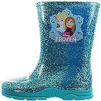 Disney Girls Toddler Frozen Elsa Anna Glitter Winter Wellies Shoes Boots Aqua Blue/Pink Size 6-12