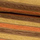 Möbelstoff Velour Streifen orange braun - Preis Gilt für