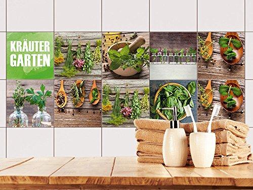 GRAZDesign 770498_15x15_FS10st Fliesenaufkleber Set Kräuter aus dem Garten für Küche | alte Küchen-Fliesen überkleben | Fliesenbild selbst Gestalten (15x15cm // Set 10 Stück) - Garten Frische Kräuter
