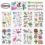 Konsait 150pcs animales tatuajes temporales Falso Pegatinas para niños niñas fiestas infantiles fiesta de cumpleaños regalo piñata