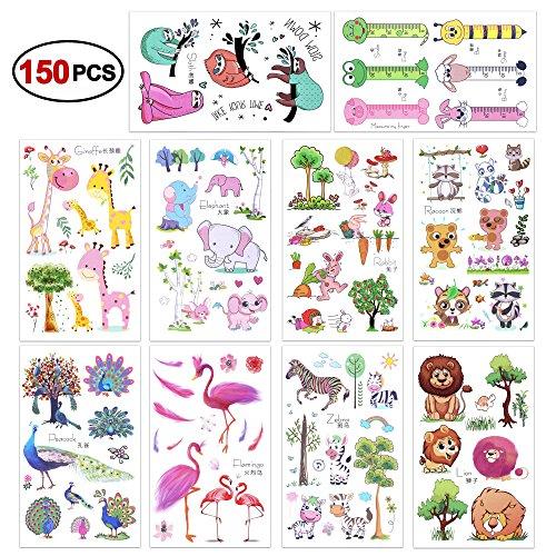 Konsait 150pcs animale tatuaggi temporanei per bambini, falso tatuaggi temporaneo tattoos adesivi per bambini festa di compleanno bomboniera ragazze bambine sacchetti regalo giocattolo