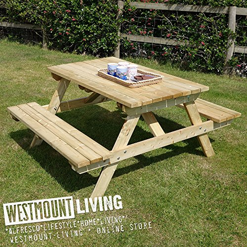 WOODEN GARDEN PICNIC TABLE BENCH - PUB STYLE OUTDOOR FURNITURE BY WESTMOUNT LIVING