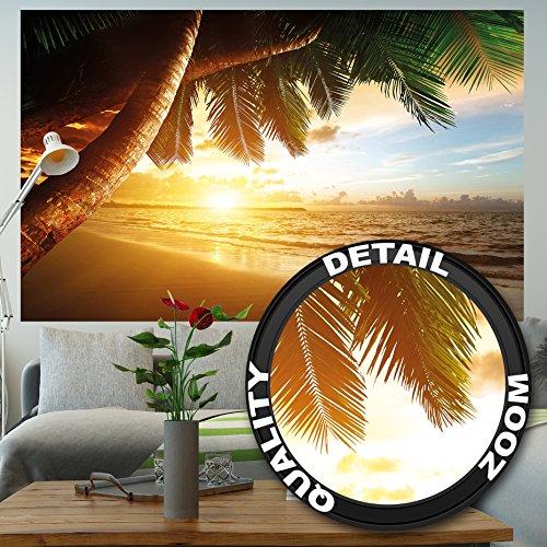 Papier peint de coucher du soleil au bord de la mer peinture murale de décoration de plage Caribéenne soleil de plage nature d'île pour les voyages de vacances   murale photo GREAT ART 210×140 cm