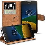 Verco Moto G5 Plus Hülle, Handyhülle für Motorola Moto G5 Plus Tasche PU Leder Flip Case Brieftasche - Schwarz