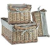Juego de 3 cestas de mimbre de VonHaus, con forro lavable gris, estilo retro y elegante, para almacenamiento