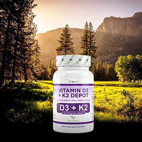 Vitamin D3 20.000 I.E + Vitamin K2 200mcg Menaquinon MK7 Depot – 100 Tabletten – 20 Tagesdosis 1000 I.E. D3 pro Tag – Alle 20 Tage eine Tablette, Vegetarische Tabletten, Vit4ever - 7