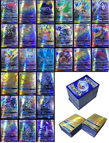 Dorara 200 Pezzi Pokemon Carte GX Nessuna Ripetizione , Pokemon Flash Carte, Carta collezionabile, Puzzle Divertente Gioco di Carte