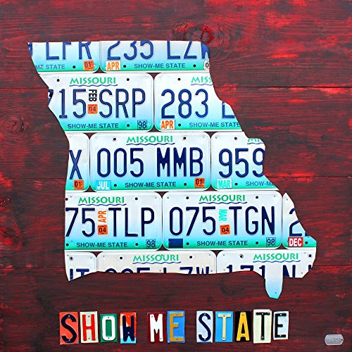 Design Turnpike – Missouri License Plate Map Kunstdruck (60,96 x 60,96 cm)