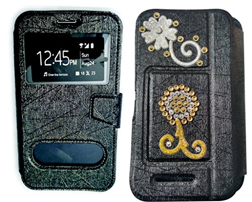 BKDT Marketing Diamond studded, Stone Glittering Flip Cover Case Stand for MICROMAX Bolt A66 with Dislay Window and Stand with Crystals Decoration  available at amazon for Rs.449