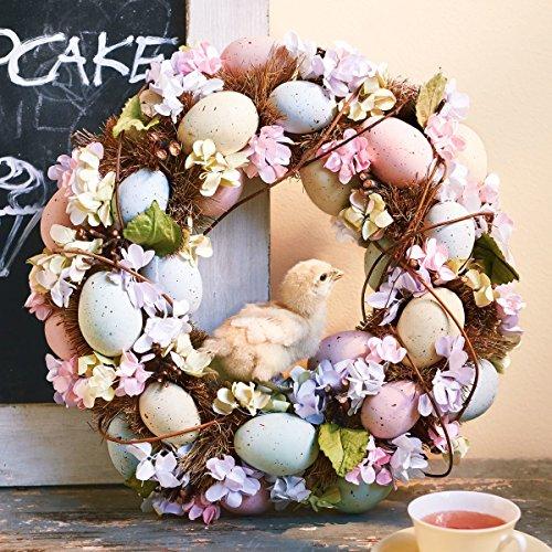 Pureday Dekokranz Sweet Pastell - Türkranz mit Kunststoffeiern - Pastellfarben - ca. Ø 35 cm