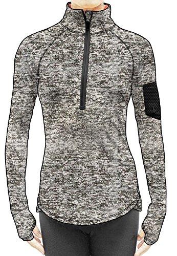 icyZone Damen Fitness Sweatshirt 1/2 Reißverschluss Sport Langarm Shirt im Winter Laufshirt (Athletic Grey, XL) (Zip Zurück Pullover)