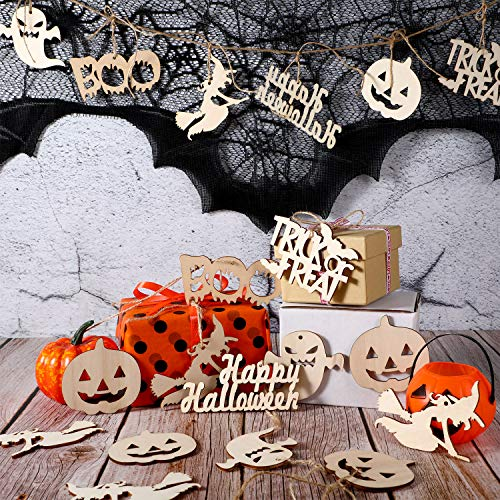 Sumind 60 Pieces Halloween Wooden Slices Wooden Gift Tags Blank Wood Hanging Ornaments Cutouts Crafts with 60 Pieces Twine Ropes for Kids Crafts Halloween Christmas Ornaments (Style 2)