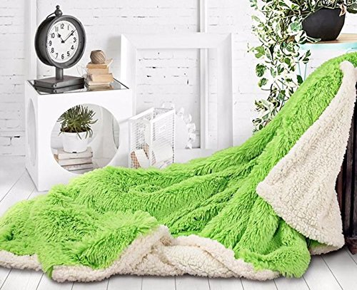 yiyida Plaid 130X 160CM Couvre-lit Longhair imitation fourrure TV Couverture polaire microfibre Couverture Canapé Couverture pour canapé lit légère spongieux, vert, 130 x160cm
