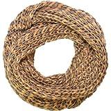 Trendige Kandharis Loopschal Schlauchschal in Grobstrick Muster zweifarbig 2 Farbig Uni Braun