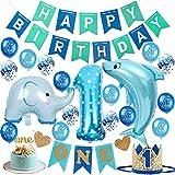 Soxtome 1. Geburtstag Dekoration Set für Jungen - Geburtstagsdeko 1 Jahr Blau mit Ballons, Geburtstag Girlande, ONE Banner, Krone, Glitter Cake Topper
