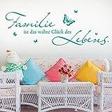 KLEBEHELD® Wandtattoo Familie ist das Glück des Lebens | Familienspruch | Größe 100x34cm, Farbe weiss